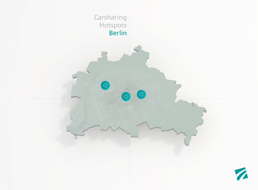 Abbildung, Illustration Carsharing Hotspots in Berlin