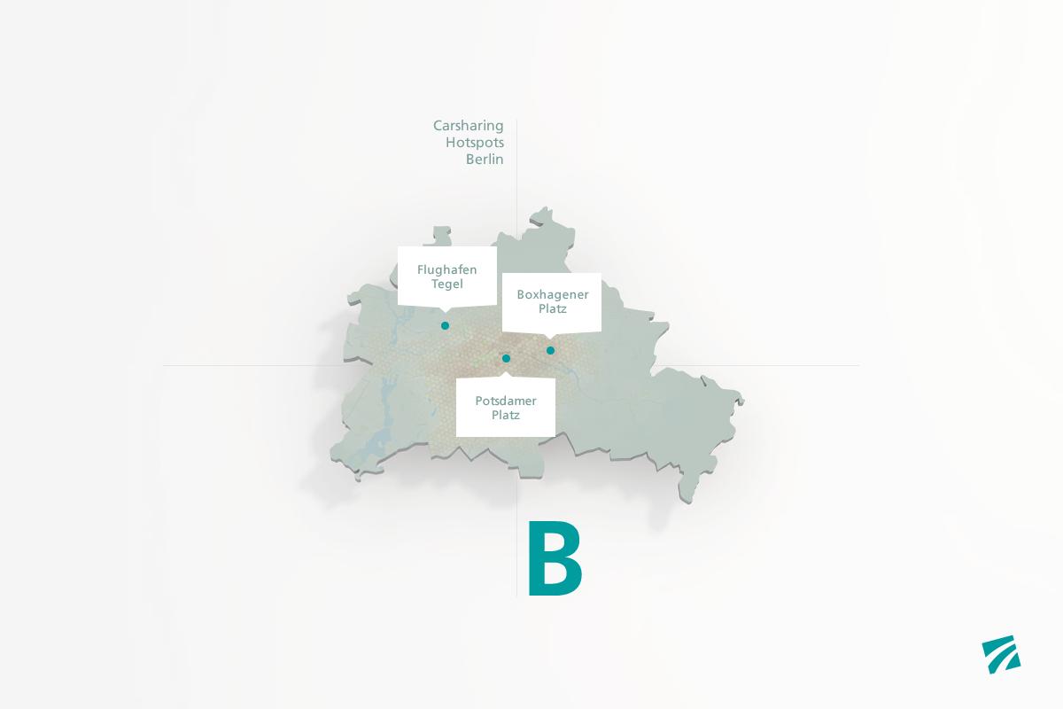 Abbildung, Illustration der Karte von Berlin mit 3 Carsharing Hotspots