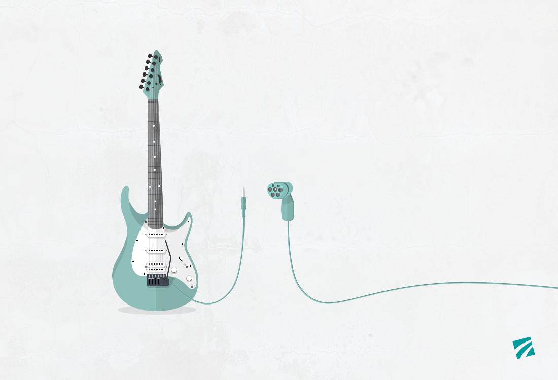 illustrierte E-Gitarre und ein Elektroauto-Ladekabel