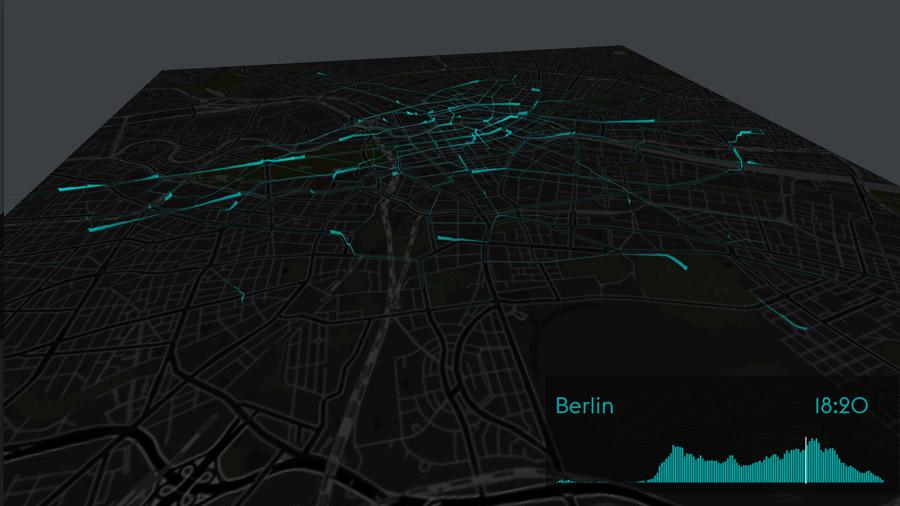 Bewegungsmuster geliehener Fahrräder in Berlin (Bild: http://streamsandtraces.com/)
